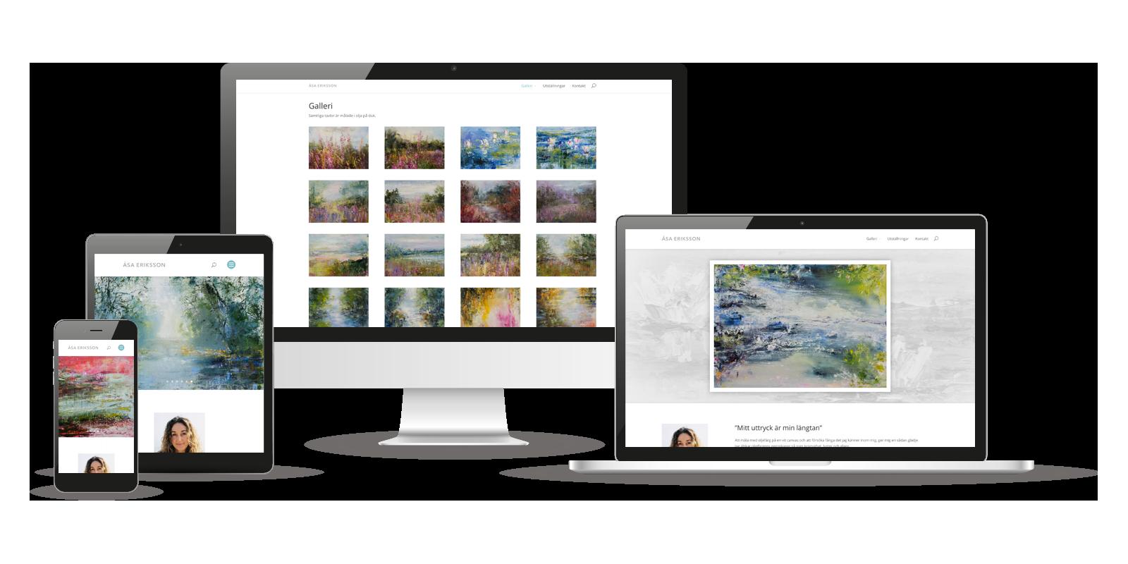 Design av hemsida till konstnär Åsa Eriksson