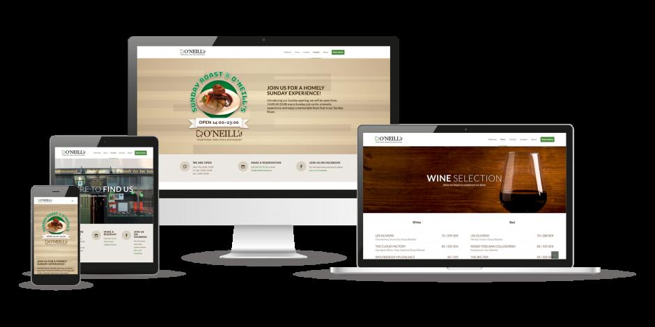 Design av hemsida till O'Neill's Irish Pub & Restaurant
